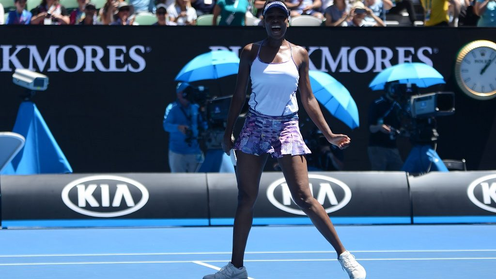 MELBOURNE, AUSTRALIA - JANUARY 24: Venus Williams (C) of the USA is in action against Russia's Anastasia Pavlyuchenkova (not seen) during their women's singles quarter-final match on day nine of the Australian Open tennis tournament in Melbourne, Australia on January 24, 2017.  Recep Sakar / Anadolu Agency