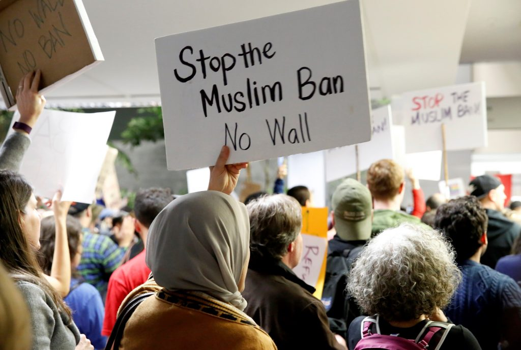 SAN FRANCISCO, UNITED STATES - JANUARY 28: Activists stage a rally against President Donald Trump's 90-days ban of entry on 7 Muslim-majority countries at the San Francisco International Airport in San Francisco USA on January 28, 2017. Tayfun Coskun / Anadolu Agency
