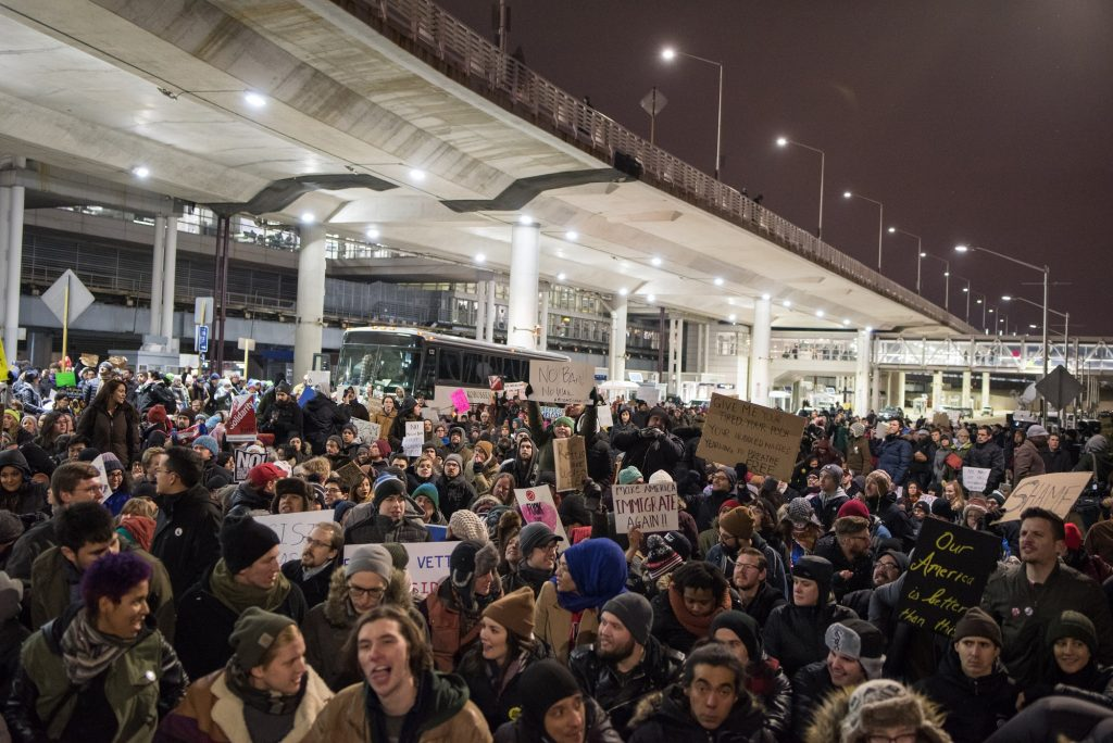 Thousands fill the street outside Terminal 5 of O'Hare International Airport in Chicago in protest of President Trump's order to ban people from seven predominantly Muslim countries from entering the United States on January 28, 2017.   (Photo by Max Herman/NurPhoto)