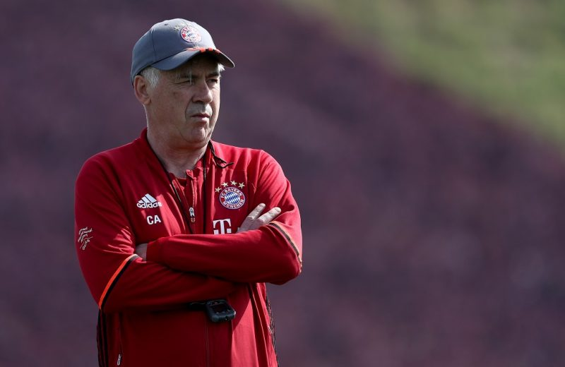 DOHA, QATAR - JANUARY 05:  Head coach Carlo Ancelotti is seen during a training session at day 3 of the Bayern Muenchen training camp at Aspire Academy on January 5, 2017 in Doha, Qatar.  (Photo by Lars Baron/Bongarts/Getty Images)