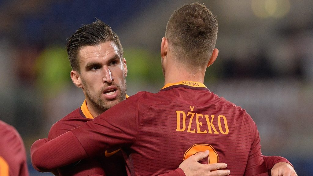 Edin Dzeko and Kevin Strootman  celebrates after score a goal 1-0  during the Italian Serie A football match between A.S. Roma and A.C. Cagliari at the Olympic Stadium in Rome, on January 22, 2017. (Photo by Silvia Lore/NurPhoto)