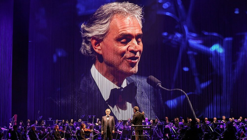 AUSTIN, TX - DECEMBER 08:  Singer-songwriter Andrea Bocelli (L) and conductor Eugene Kohn perform in concert at the Frank Erwin Center on December 8, 2016 in Austin, Texas.  (Photo by Rick Kern/WireImage,)