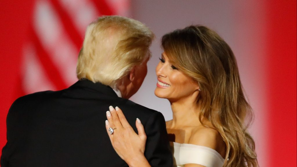 WASHINGTON, DC - JANUARY 20:  President Donald Trump and first lady Melania Trump dance at the Freedom Inaugural Ball at the Washington Convention Center January 20, 2017 in Washington, D.C.  President Trump was sworn today as the 45th U.S. President.  (Photo by Aaron P. Bernstein/Getty Images)