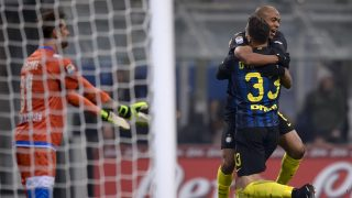 GIUSEPPE MEAZZA STADIUM, MILAN, ITALY - 2017/01/28: Danilo D'Ambrosio (#33) of FC Internazionale celebrates with Joao Mario after scoring the opening goal during the Serie A football match between FC Internazionale and Pescara Calcio. FC Internazionale wins 3-0 over Pescara Calcio. (Photo by Nicolò Campo/LightRocket via Getty Images)