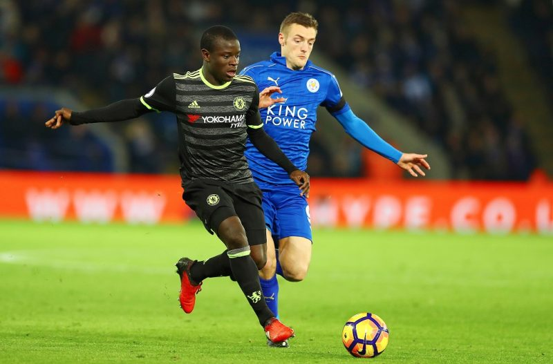 N'Golo Kante of Chelsea and Jamie Vardy of Leicester City in action during the English championship Premier League football match between Leicester City and Chelsea on January 14, 2017 played at The King Power Stadium in Leicester, Great Britain - Photo Kieran McManus / Backpage Images / DPPI