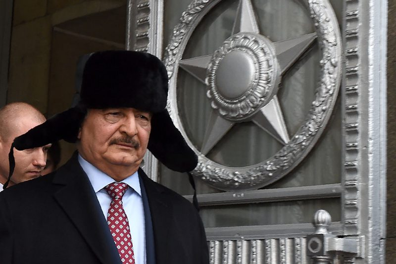 Marshal Khalifa Haftar, chief of the so-called Libyan National Army, leaves the main building of Russia's Foreign Ministry after a meeting with Russian Minister of Foreign Affairs in Moscow on November 29, 2016. / AFP PHOTO / Vasily MAXIMOV