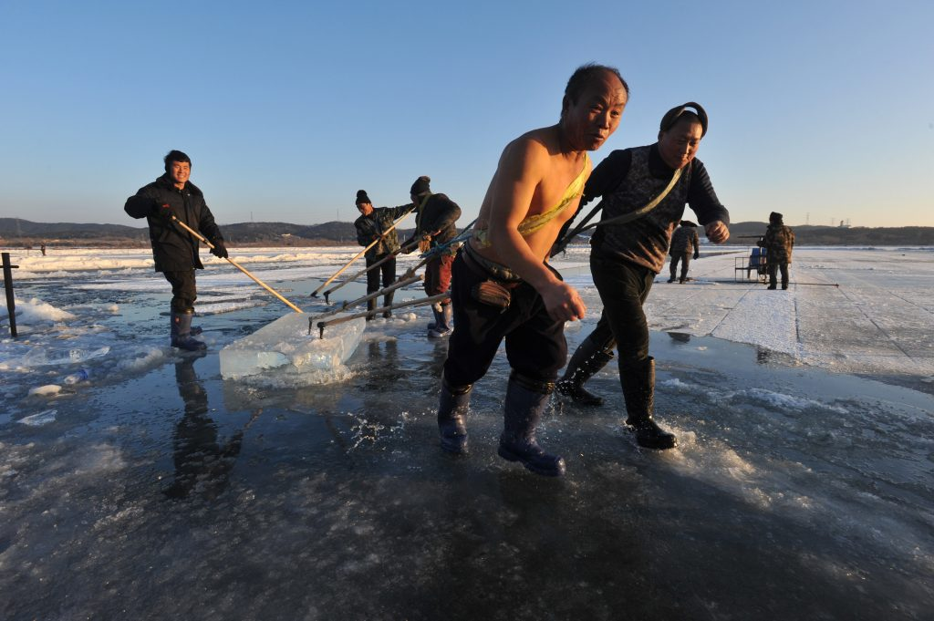 A topless Chinese worker drags an ice block on the frozen Xiuhu Lake in Qipan Mountain in Shenyang city, northeast China's Liaoning province, 2 January 2017.  Chinese workers collected ice blocks from the frozen Xiuhu Lake in Qipan Mountain in Shenyang city, northeast China's Liaoning province. The ice blocks collected in Liaoning's coastal areas are used for preserving sea food, a practice that dates back 100 years. About 700 ice-collecting devices can create 700,000 ice blocks a day, generating a total output of nearly 200 million yuan ($29 million) in one month.