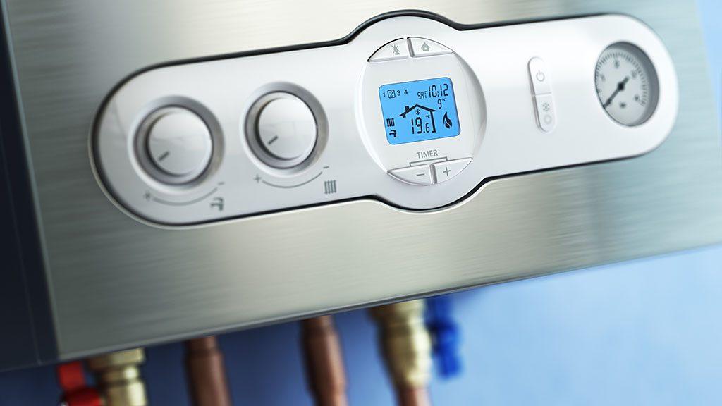Gas boiler control panel. Gas boiler home heating. 3d