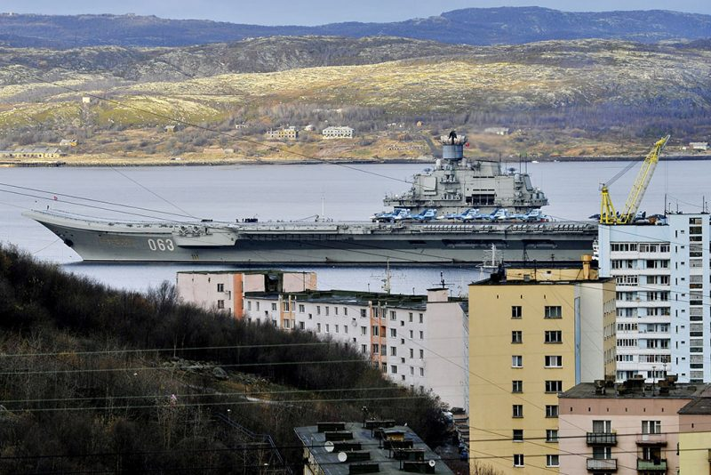 MURMANSK, RUSSIA - OCTOBER 14, 2016: The Russian aircraft carrier Admiral Kuznetsov at a ship-repairing yard ahead of tests of a new air group. Russia's Defense Minister Sergei Shoigu said that the carrier would join Russia's naval group operating in the eastern Mediterranean. Lev Fedoseyev/TASS (Photo by Lev FedoseyevTASS via Getty Images)