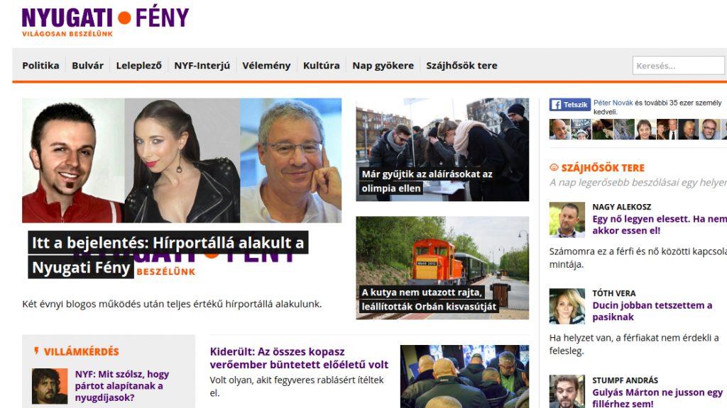 A Nyugatifeny.hu hírportál nyitóoldala