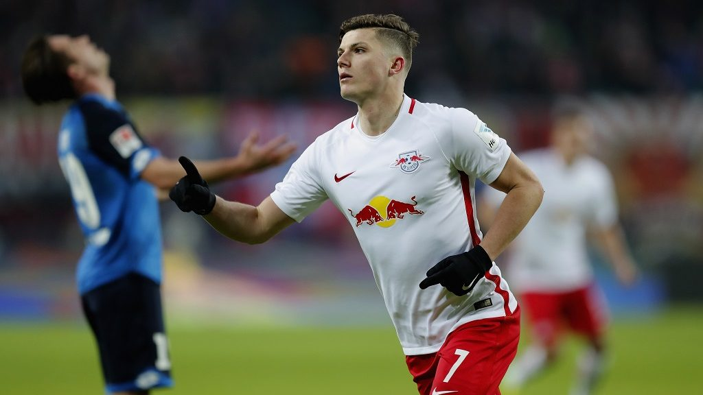 LEIPZIG, GERMANY - JANUARY 28:  Marcel Sabitzer of RB Leipzig celebrates after scoring his team's second goal during the Bundesliga match between RB Leipzig and TSG 1899 Hoffenheim at Red Bull Arena on January 28, 2017 in Leipzig, Germany.  (Photo by Boris Streubel/Bongarts/Getty Images)