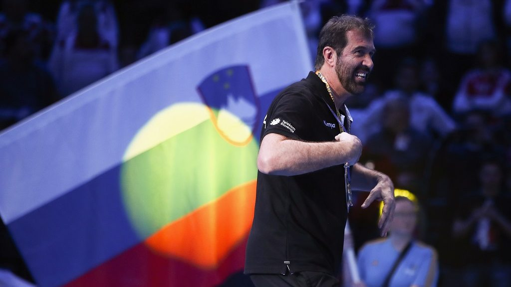 PARIS, FRANCE - JANUARY 28: Head coach Veselin Vujovic of Slovenia celebrates after the 25th IHF Men's World Championship 2017 Bronze Medal Game between Slovenia and Croatia at Accorhotels Arena on January 28, 2017 in Paris, France.  (Photo by Alex Grimm/Bongarts/Getty Images)