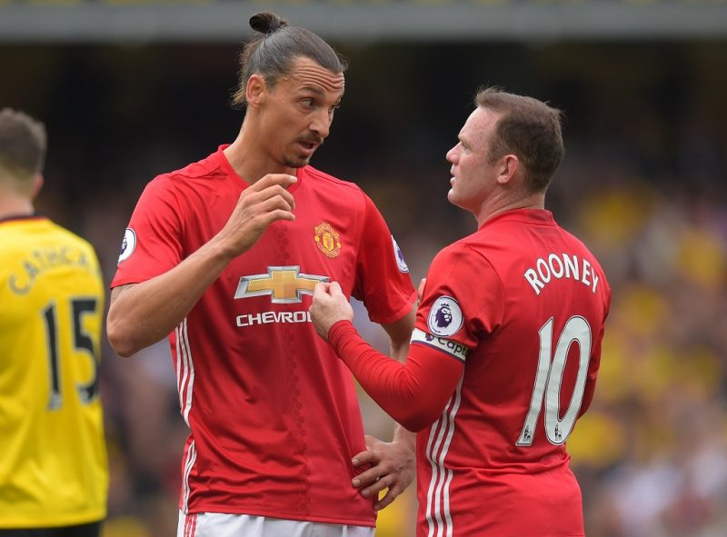 Wayne Rooney and Zlatan Ibrahimovic of Manchester United talk during the English championship Premier League football match between Watford and Manchester United on September 18, 2016 played at Vicarage Road in Watford, Great Britain - Photo Joe Toth / Backpage Images / DPPI