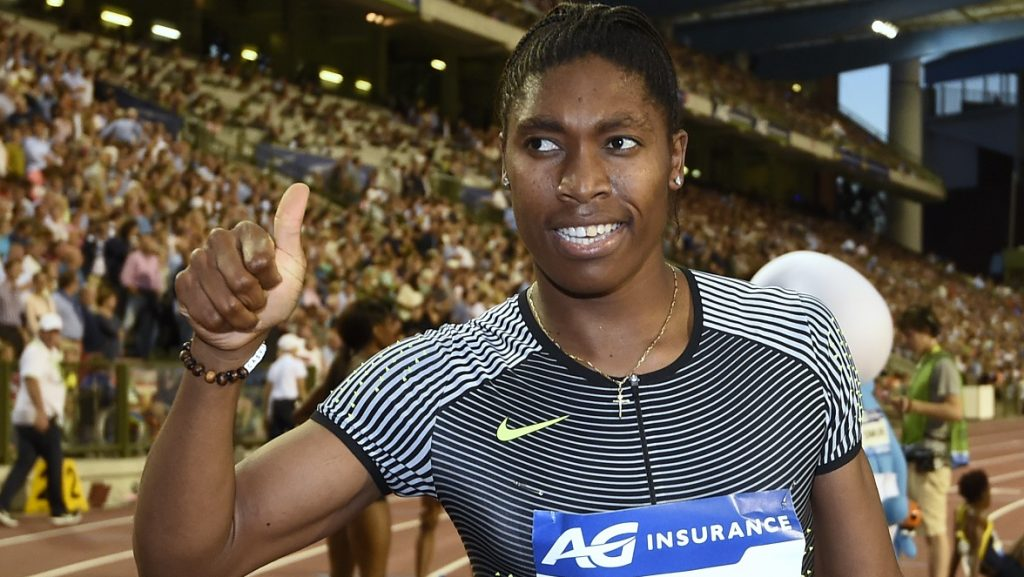 South Africa's Caster Semenya celebrates after the women's 400 m race during the IAAF Diamond League athletics meeting in Brussels on September 9, 2016. / AFP PHOTO / JOHN THYS