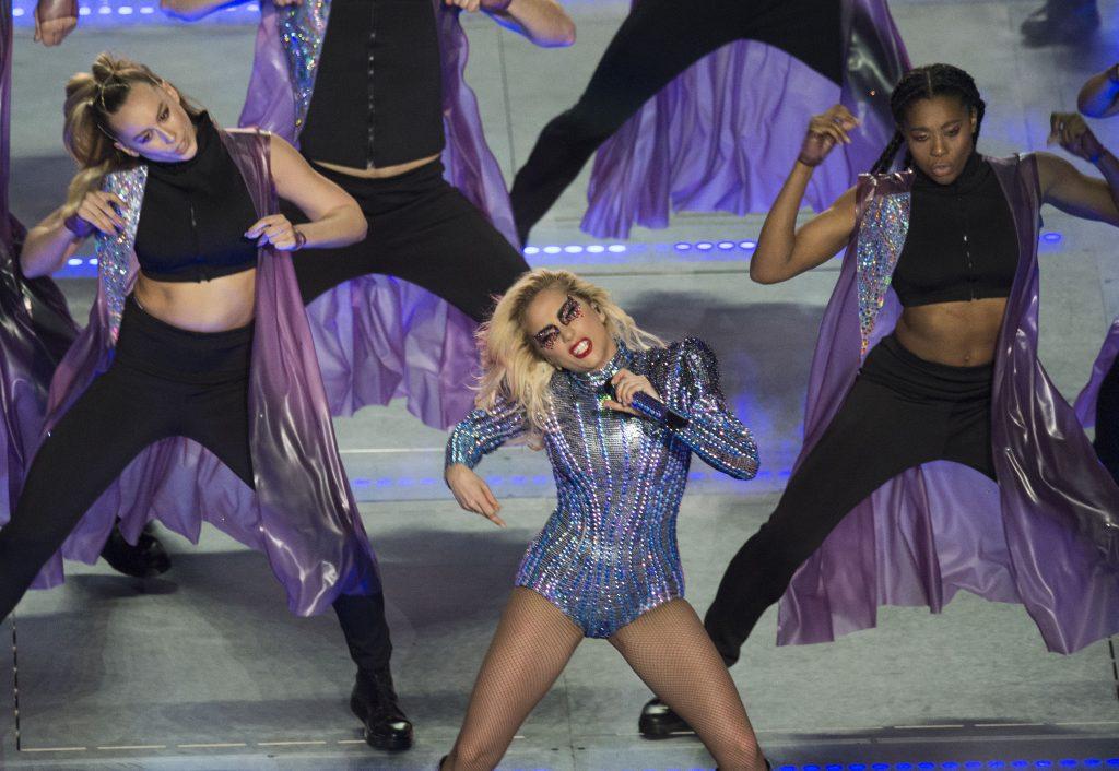 Singer Lady Gaga performs during the Pepsi Super Bowl LI Halftime Show at Houston NRG Stadium in Houston, Texas, February 5, 2017.  / AFP PHOTO / VALERIE MACON