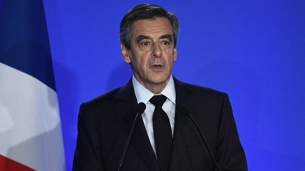 """French presidential election candidate for the right-wing Les Republicains (LR) party Francois Fillon gives a press conference focused on """"fake job"""" allegations, on February 6, 2017 at his campaign headquarters in Paris. Fillon's presidential bid has been floundering since it emerged that his wife Penelope earned more than 800,000 euros ($860,000) over a decade as a parliamentary aide to her husband and an ally. / AFP PHOTO / Martin BUREAU"""