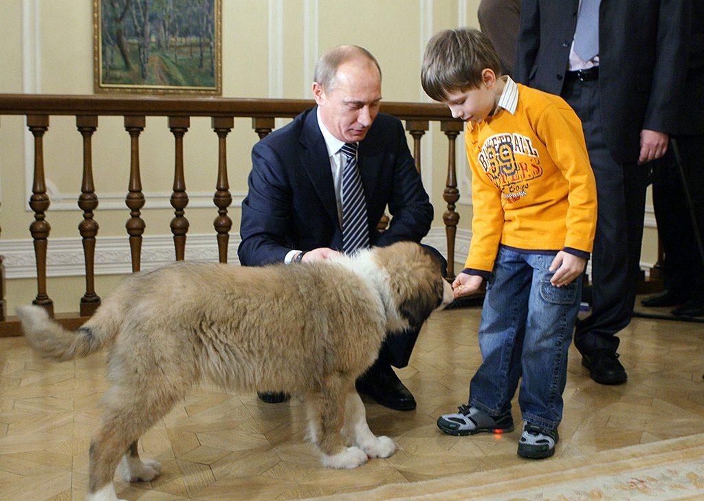 "Russian Prime Minister Vladimir Putin (L) and Dima Sokolov, the boy who proposed the dog's name to Putin, play with Putin's Bulgarian shepherd dog ""Buffy"" during their meeting at Putin's residence outside of Moscow, the Novo-Ogaryovo, on December 9, 2010.  AFP PHOTO/ RIA-NOVOSTI /POOL/ ALEXEY DRUZHININ / AFP PHOTO / RIA NOVOSTI / ALEXEY DRUZHININ"