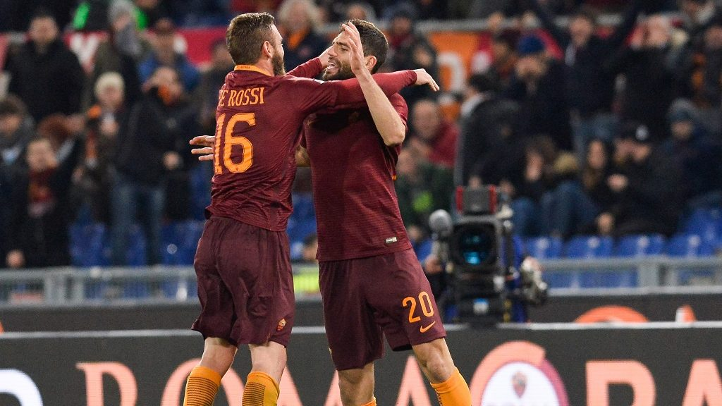 Federico Fazio, celebrates after scoring a goal -0 with Daniele De Rossi during the Italian Serie A football match between A.S. Roma and A.C. Fiorentina at the Olympic Stadium in Rome, on february 07, 2017. (Photo by Silvia Lore/NurPhoto)