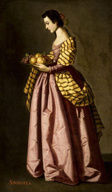 SANTA DOROTEA, ANONIMO, TALLER DE FRANCISCO ZURBARAN, OLEO SOBRE LIENZO, 1640 (ca)-1650(ca) SIGLO XVII.  MUSEO DE BELLAS ARTES, SEVILLA
