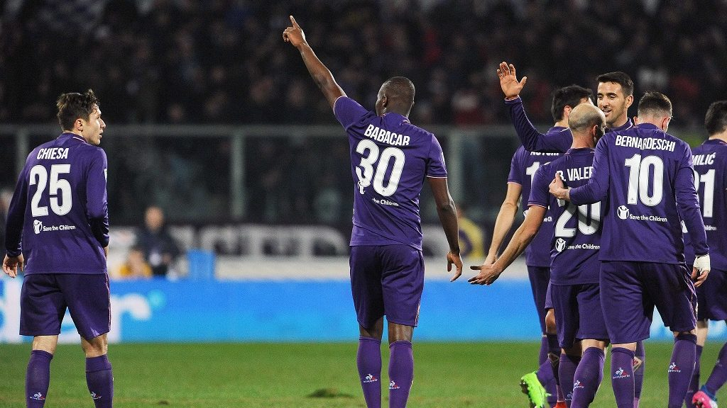 FLORENCE,ITALY,  FEBRUARY 11: Footballers of Acf Fiorentina celebrate after scoring a goal during serie A soccer match between ACF Fiorentina and Udinese Calcio at Stadio Artemio Franchi in Florence,Italy on February 11,2017. Carlo Bressan / Anadolu Agency