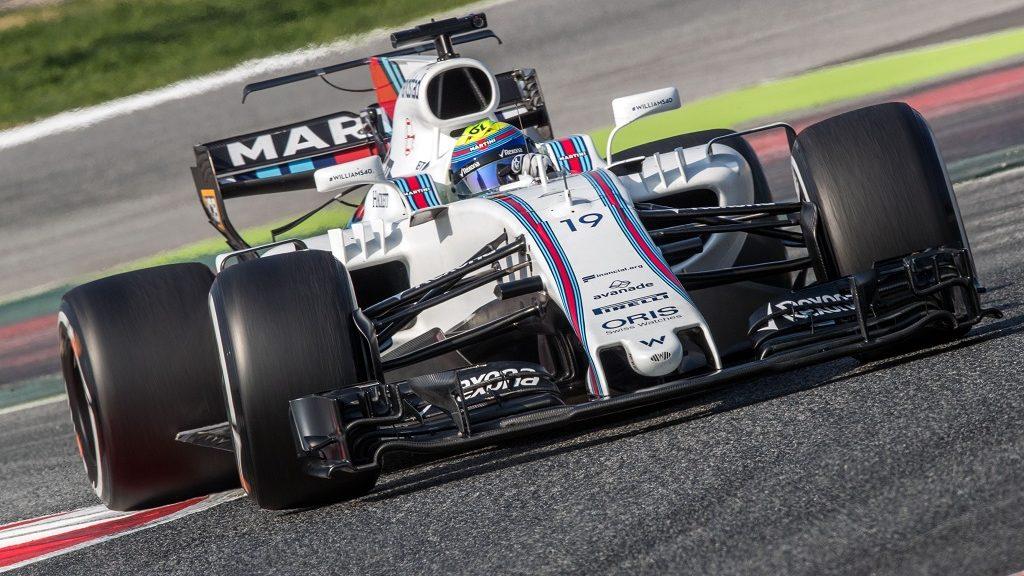 Brazilian Formula One pilot Felipe Massa of Williams in his new race car in action at the Formula One pre-season testing at the Circuit de Catalunya race track in Bracelona, Germany, 27 February 2017. The new Formula One season starts on 26 March 2017 in Australia. Photo: Jens Büttner/dpa-Zentralbild/dpa