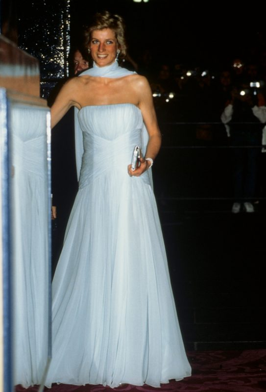 LONDON, UNITED KINGDOM - SEPTEMBER 19:  Princess Diana arrives at the Theatre Royal Drury Lane London for a performance of the musical 'Miss Saigon'. She is wearing a pale blue chiffon evening dress designed by fashion designer Catherine Walker.  (Photo by Georges De Keerle/Getty Images)