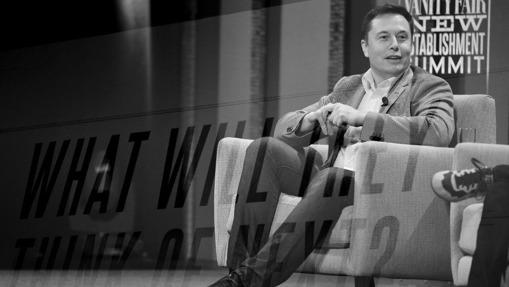"""SAN FRANCISCO, CA - OCTOBER 06:  (EDITORS NOTE:  Multiple exposures were combined in camera to produce this image. Image has been shot in black and white. Color version not available.)  Tesla Motors CEO and Product Architect Elon Musk speaks onstage during """"What Will They Think of Next? Talking About Innovation"""" at the Vanity Fair New Establishment Summit at Yerba Buena Center for the Arts on October 6, 2015 in San Francisco, California.  (Photo by Mike Windle/Getty Images for Vanity Fair)"""