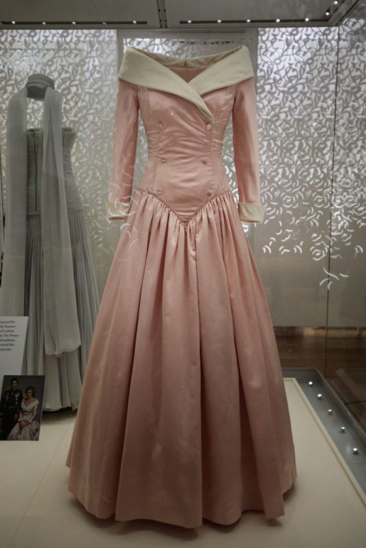 LONDON, ENGLAND - FEBRUARY 22: A 1987 Catherine Walker satin evening gown worn by Princess Diana during an official portrait in 1987 and on official visits to Germany on display at a press preview at Kensington Palace on February 22, 2017 in London, England. The exhibition 'Diana: Her Fashion Story', which showcases a number of the Princess' dresses and outfits, opens to the public on February 24 as part of events commemorating the life of Princess Diana to mark the 20th anniversary of her death in Paris on August 31st, 1997.  (Photo by Jack Taylor/Getty Images)