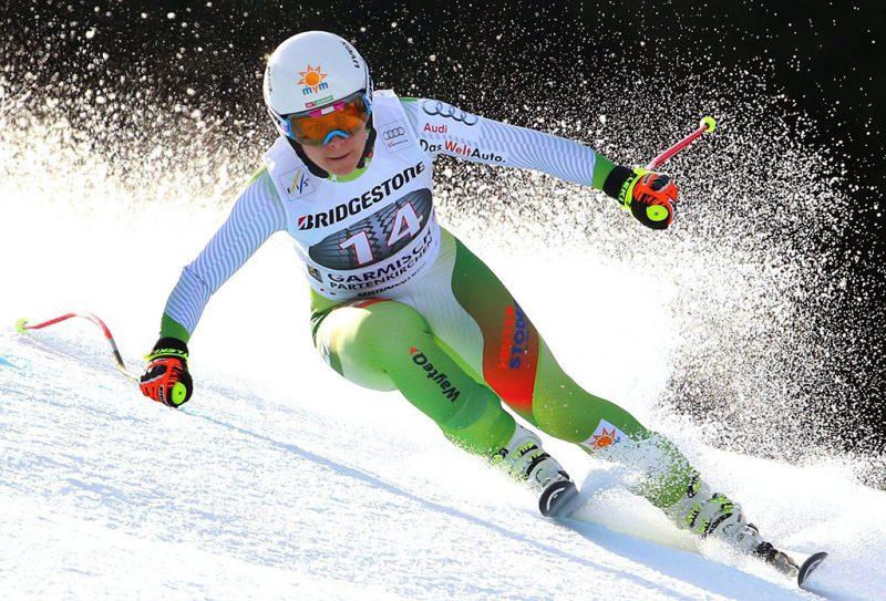Garmisch-Partenkirchen, 2016. február 6.Miklós Edit a női alpesi sízők világkupa-sorozatának garmisch-partenkircheni lesiklóversenyében 2016. február 6-án. (MTI/EPA/Karl-Josef Hildenbrand)