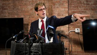 NEW YORK, NY - FEBRUARY 21: Milo Yiannopoulos announces his resignation from Brietbart News during a press conference, February 21, 2017 in New York City. After comments he made regarding pedophilia surfaced in an online video, Yiannopoulos was uninvited to speak at the Conservative Political Action Conference (CPAC) and lost a major book deal with Simon & Schuster.   Drew Angerer/Getty Images/AFP