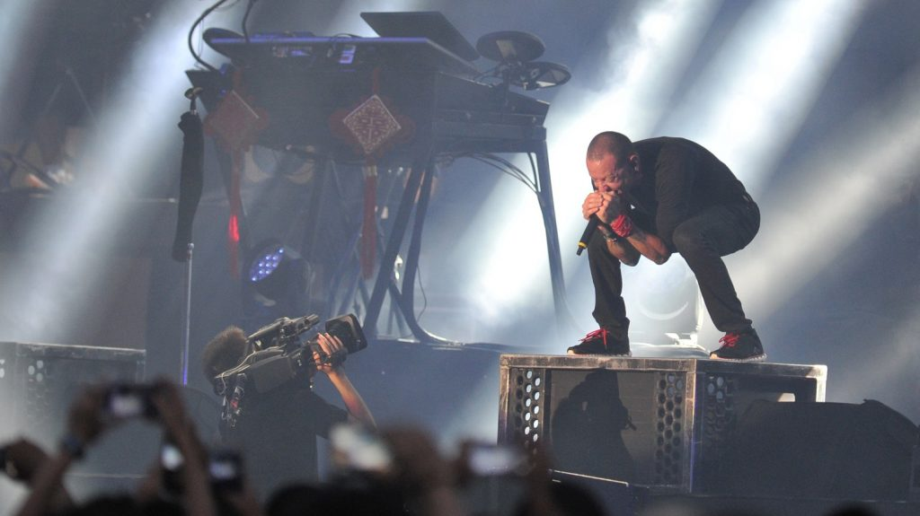 Members of American rock band Linkin Park perform at the Beijing concert of their China tour in Beijing, China, 26 July 2015.