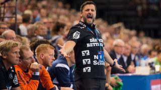 Flensburg's coach Ljubomir Vranjes reacts during the Champions League handball match between SG Flensburg-Handewitt and Telekom Veszprem in the Flens Arena in Flensburg, Germany, 24 September 2016. Photo:BENJAMINNOLTE/dpa
