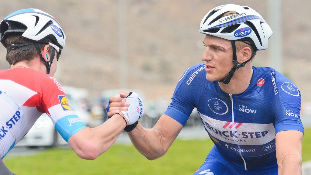 Germany's Marcel Kittel congratulated by a team-mate Bob Jungels from Quick-Step Floors, as he keeps the lider Blue Jersey after the Dubai Silicon Oasis third stage of Dubai Tour 2017, with a start from DIMS - Dubai International Marina Club, and finish in Al Aqah overlooking the Golf of Oman. The 2017 Dubai Tour takes place from 31st January to 4th February. On Wednesday 2 February 2017, in Al Aqah, UAE. (Photo by Artur Widak/NurPhoto)