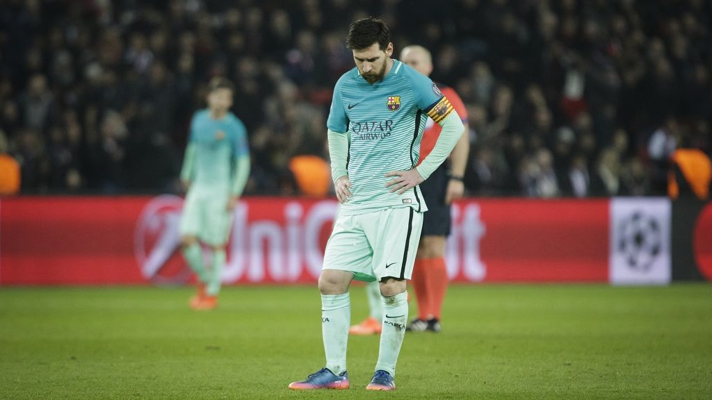 Delusion of Barcelona player Lionel Messi  during the UEFA Champions League round of 16 first leg football match between Paris Saint-Germain and FC Barcelona on February 14, 2017 at the Parc des Princes stadium in Paris. (Photo by Geoffroy Van der Hasselt/NurPhoto)