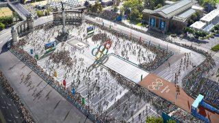 Budapest, 2017. január 4. A Budapest 2024 által 2017. január 4-én közölt legfrissebb aktuális látványterv a Hősök teréről, az esetleges 2024-es budapesti olimpia országúti kerékpárversenyeinek, a gyaloglásnak és a maratonfutásnak a rajt-cél helyszínéről. A látványtervet a Brick Visual, az építési terveket a BORD Építész Stúdió készítette. A 2024-es olimpia rendezési jogáért a magyar főváros Los Angelesszel és Párizzsal verseng, a Nemzetközi Olimpiai Bizottság (NOB) szeptember 13-án, Limában dönt a helyszínről.MTI Fotó