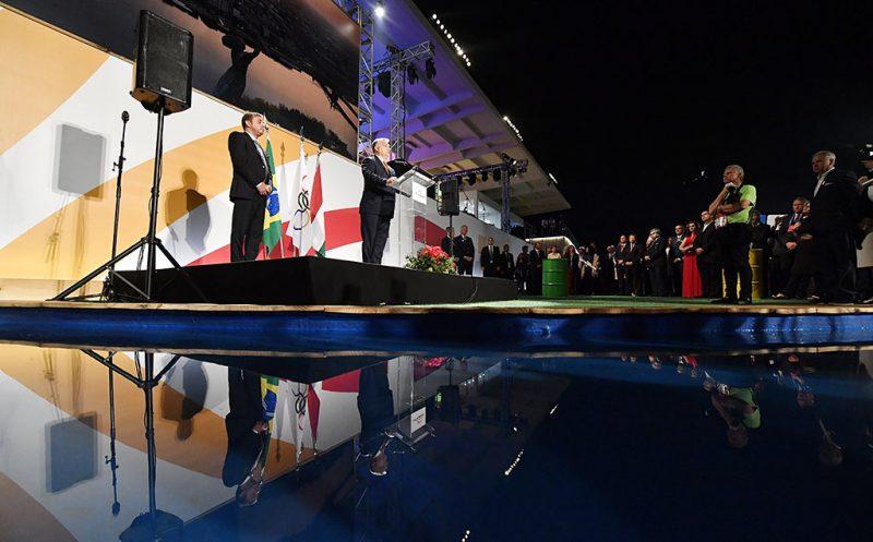 Rio de Janeiro, 2016. augusztus 20.Orbán Viktor miniszterelnök (k) beszédet mond az államalapítás ünnepe alkalmából rendezett ünnepségen a riói Magyar Házban 2016. augusztus 19-én.MTI Fotó: Illyés Tibor