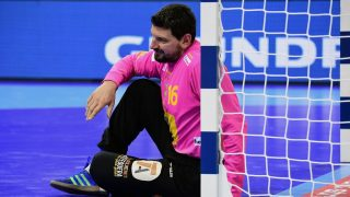 Goalkeeper Arpad Sterbik of Spain sits in front of his goal during the final match of the Men's 2016 EHF European Handball Championship between Germany and Spain in Krakow on January 31, 2016.  / AFP PHOTO / ATTILA KISBENEDEK