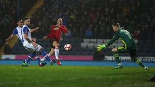 BLACKBURN, ENGLAND - FEBRUARY 19: Zlatan Ibrahimovic of Manchester United scores his side's second goal during the Emirates FA Cup Fifth Round match between Blackburn Rovers and Manchester United at Ewood Park on February 19, 2017 in Blackburn, England. (Photo by Chris Brunskill Ltd/Getty Images)