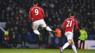 Manchester United's Swedish striker Zlatan Ibrahimovic (L) celebrates after scoring their second goal of the English Premier League football match between Leicester City and Manchester United at King Power Stadium in Leicester, central England on February 5, 2017. / AFP PHOTO / Ben STANSALL / RESTRICTED TO EDITORIAL USE. No use with unauthorized audio, video, data, fixture lists, club/league logos or 'live' services. Online in-match use limited to 75 images, no video emulation. No use in betting, games or single club/league/player publications.  /