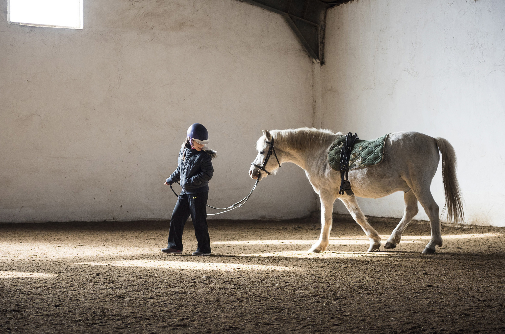 Nyíregyháza, 2017. március 30.Az autizmus spektrumzavarral élő Farkas Laura (k) egy lovat sétáltat a Nyíregyházi Fedeles Lovardában tartott terápiás foglalkozáson 2017. március 26-án. Az állandó felügyeletet igénylő gyermek nevelésének nehézségei miatt a család felbomlott, a szülők elváltak. A két gyermekét egyedül nevelő Farkas Árpád korábban jól működő vállalkozásaira nem tudott elég időt fordítani, így az egykor jó körülmények között élő család anyagi helyzete megváltozott. A férfi alapító elnöke az autista gyerekek szülői szervezetének, a 2014 tavaszán bejegyzett Most Élsz Egyesületnek, amely folyamatosan keresi a gyógyítás újabb és újabb lehetőségeit.MTI Fotó: Balázs Attila