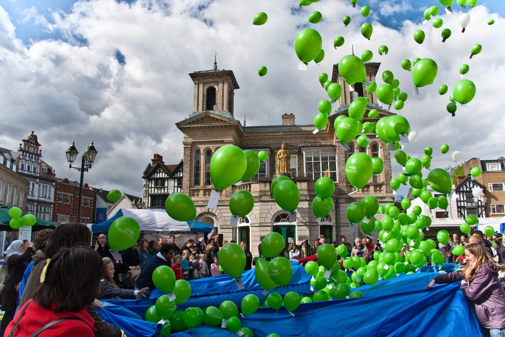 Releasing the balloons at the end of the May Merrie festival in Kingston, Surrey.