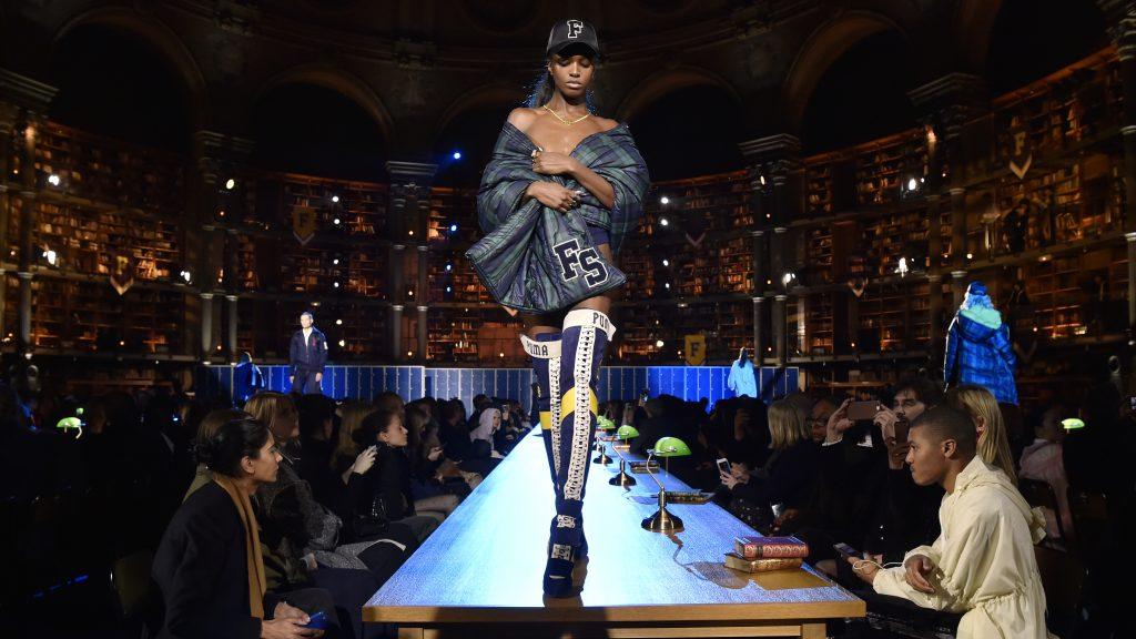 """A model presents Rihanna's Fenty Collection from PUMA during the women's Fall-Winter 2017-2018 ready-to-wear collection fashion show at the Salle Labrouste"""" of the Richelieu-Louvois Library (Bibliotheque Nationale de France - National Library of France - BnF) in Paris on March 6, 2017. / AFP PHOTO / ALAIN JOCARD"""