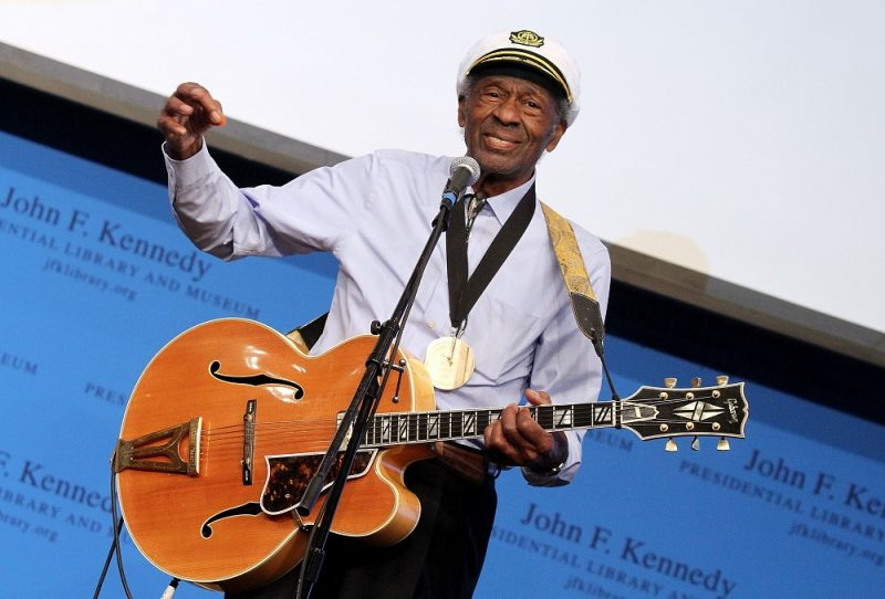 Boston, MA - FEBRUARY 26: Honoree Chuck Berry performs during the 2012 Awards for Lyrics of Literary Excellence at The John F. Kennedy Presidential Library And Museum on February 26, 2012 in Boston, Massachusetts.   Marc Andrew Deley/Getty Images/AFP