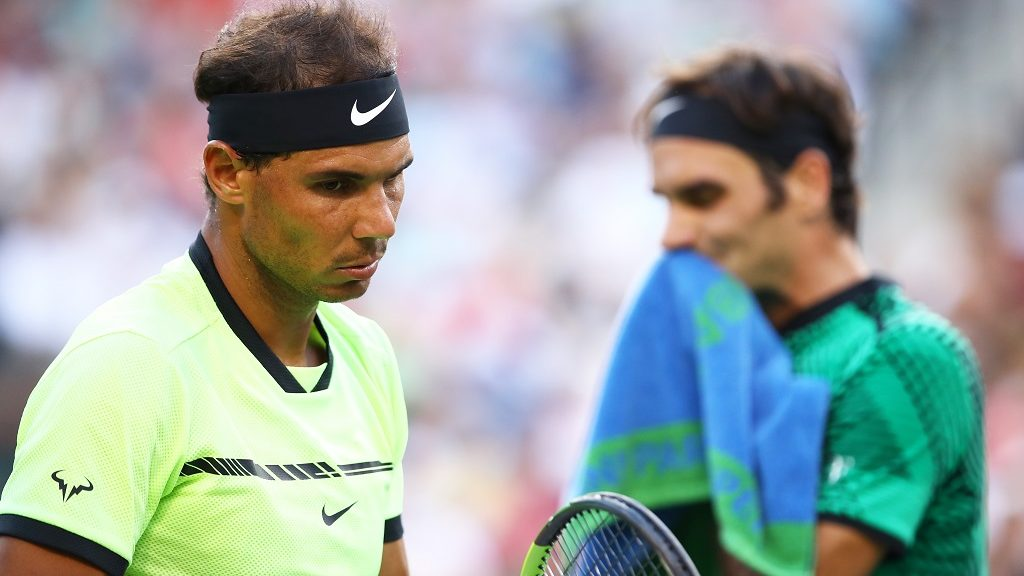 INDIAN WELLS, CA - MARCH 15: Rafael Nadal of Spain shows his dejection during his straight sets defeat by Roger Federer of Switzerland in their fourth round match during day ten of the BNP Paribas Open at Indian Wells Tennis Garden on March 15, 2017 in Indian Wells, California.   Clive Brunskill/Getty Images/AFP