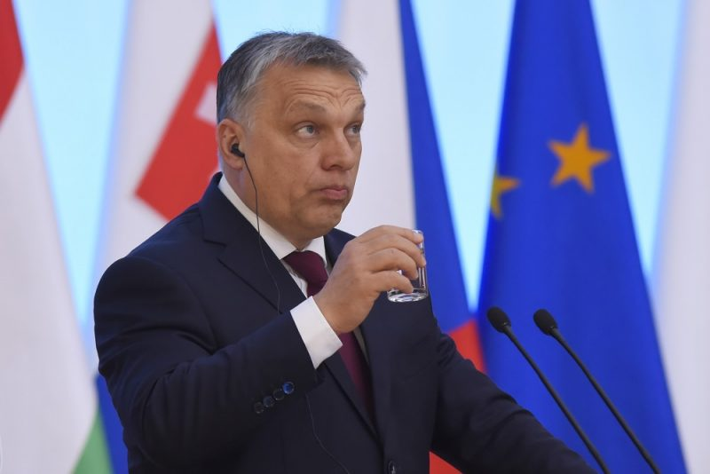 WARSAW, POLAND - MARCH 28 : Prime Minister of Hungary, Viktor Orban holds a joint press conference with Prime Minister of the Czech Republic, Bohuslav Sobotka, Prime Minister of Slovakia, Roberto Fico and Prime Minister of Poland, Beata Szydlo during the meeting of the Visegrad Group at the Chancellery of the Prime Minister of Poland in Warsaw, Poland on March 28, 2017.  Omar Marques / Anadolu Agency