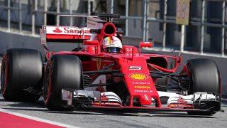 The Ferrari of Sebastian Vettel during day three of Formula One winter testing at Circuit de Catalunya on March 9, 2017 in Montmelo, Spain.   (Photo by Jordi GalbanyUrbanandsport/NurPhoto)