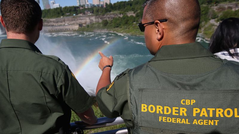 NIAGARA FALLS, NY - JUNE 04:  A rainbow forms in the mist of Niagara Falls as U.S. Border Patrol agents patrol the area on June 4, 2013 in Niagara Falls, New York. The major tourist attraction, which falls directly on the U.S.-Canada border, is a major destination for international visitors. Border Patrol agents detain travelers who have overstayed their visas as well as undocumented immigrants who attempt to illegally cross the international bridge in Niagara Falls.  (Photo by John Moore/Getty Images)