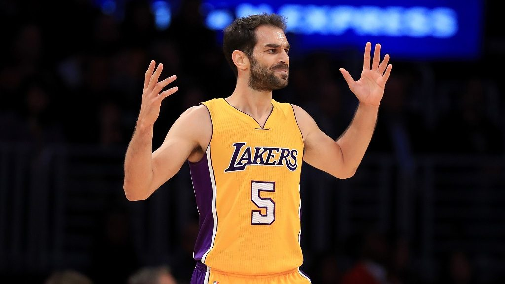 LOS ANGELES, CA - NOVEMBER 18: Jose Calderon #5 of the Los Angeles Lakers reacts to a called foul during the second half of a game against the San Antonio Spurs at Staples Center on November 18, 2016 in Los Angeles, California. NOTE TO USER: User expressly acknowledges and agrees that, by downloading and or using this photograph, User is consenting to the terms and conditions of the Getty Images License Agreement   Sean M. Haffey/Getty Images/AFP