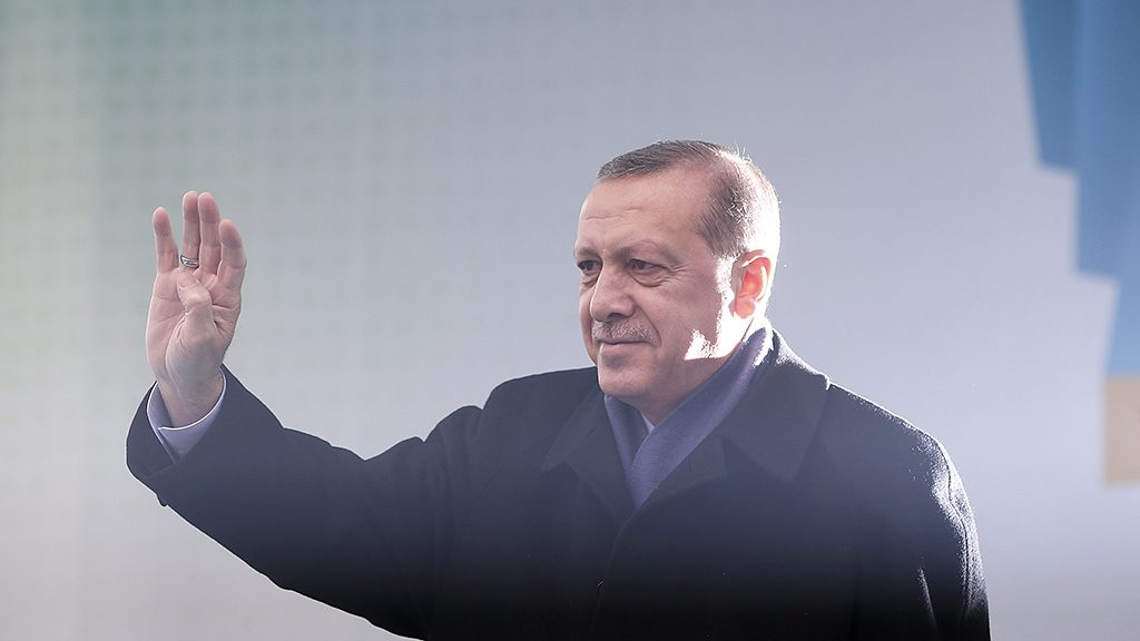 SAKARYA, TURKEY - MARCH 16: Turkish President Recep Tayyip Erdogan greets the crowd during a mass opening ceremony at the Democracy Square in Sakarya, Turkey on March 16, 2017.  Murat Kula / Anadolu Agency