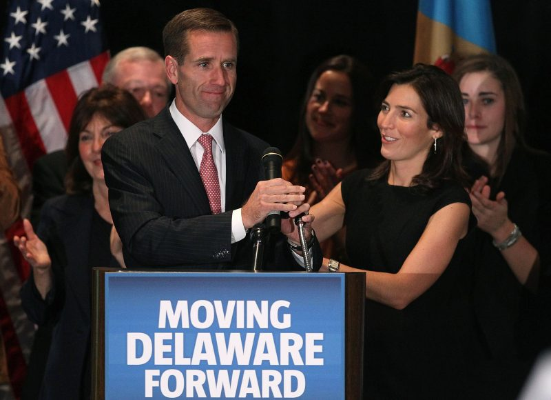 WILMINGTON, DE - NOVEMBER 02: Attorney General Beau Biden (L) celebrates his win with his wife Hallie Biden during a victory party for Democrats on November 2, 2010 in Wilmington, Delaware. Biden won in his re-election bid for Delaware Attorney General against Independent candidate Doug Campbell.   (Photo by Mark Wilson/Getty Images)